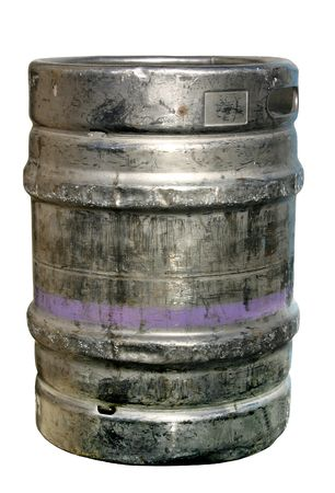 keg: A metal beer barrel keg isolated on a white background.