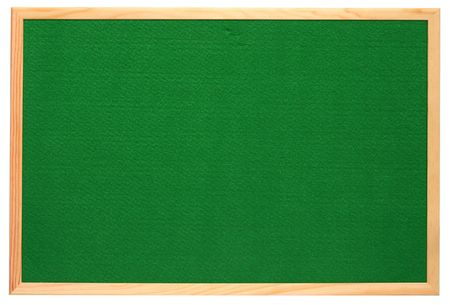 notice: Empty green felt notice board, isolated on a white background. Stock Photo