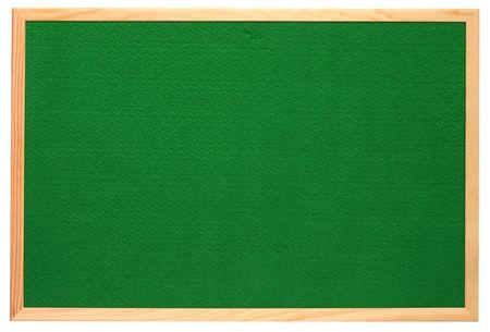 felt: Empty green felt notice board, isolated on a white background. Stock Photo