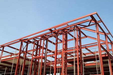 Red steel building construction framework. Stock Photo