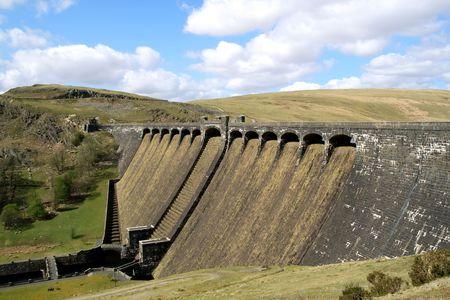 elan: The Claerwen Dam, Elan Valley, Wales. Stock Photo