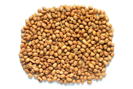 good cholesterol: Soya nuts isolated on a white background. Contain soya protein, good for cholesterol levels.