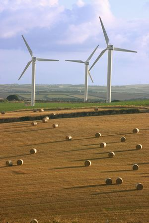 Wind turbines and straw bails