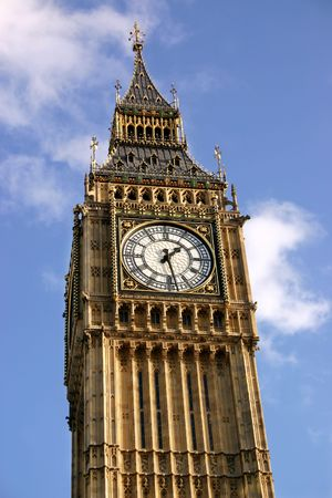 Close view of the clock face of Big Ben, the clock tower of the Palace of Westminster. photo