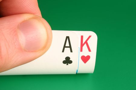 big slick: Looking at Ace King (Big Slick) during a poker game Stock Photo