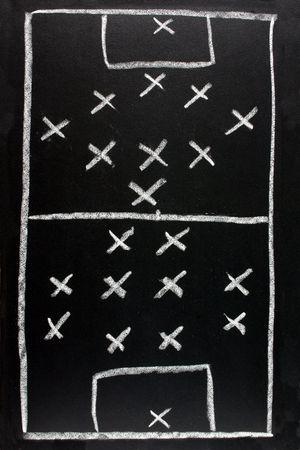 442 v 351.  Soccer formation tactics on a blackboard.