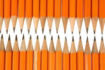 Orange pencil tips close up photo