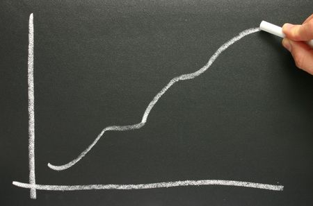 Drawing a profit projection chart on a blackboard.
