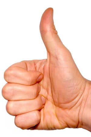 Thumbs up on a white background photo