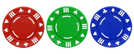 Colorful red green and blue clay poker chips isolated on a white background. photo