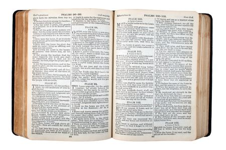 An old bible, published in 1942, opened at Psalm 100.