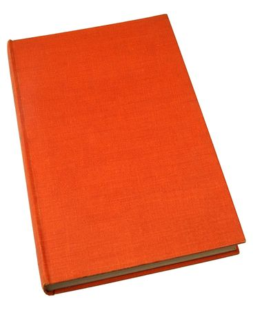 hardback: An old hardback book with a textured orange cover.
