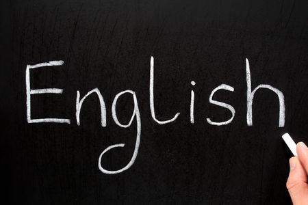 English, written with white chalk on a blackboard.