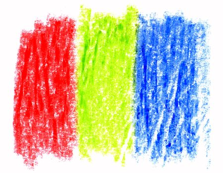 A red green and blue crayon scribble. Stock Photo