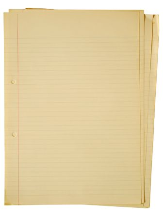 yellowing: Old yellowing A4 faint lined sheets of paper isolated on a white background. Stock Photo
