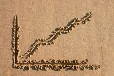 A profit chart drawn in the sand. photo