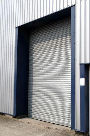 A closed warehouse door.