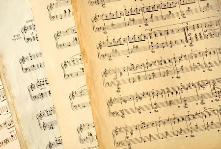 Genuine old music sheets from the early 20th century.