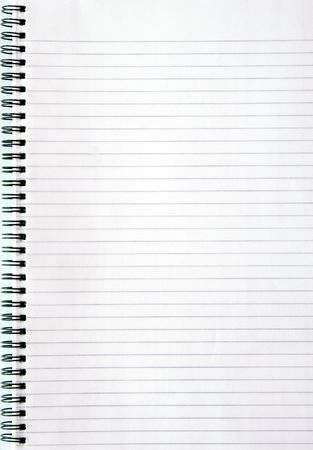 Blank white lined notebook page. photo