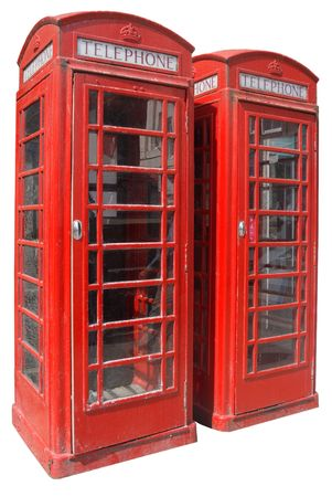 Two classic red British telephone boxes, isolated on a white background. Stock Photo - 951286