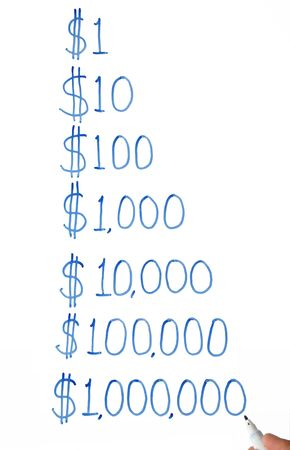 10 fingers: Writing one dollar to one million dollars on a white board.