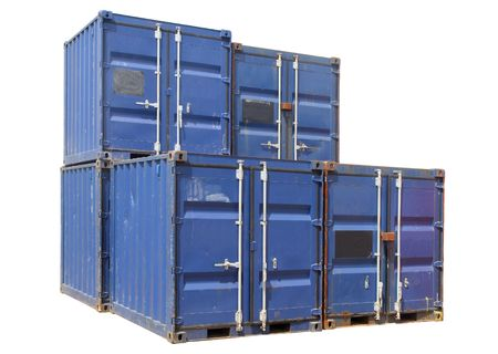 Ship cargo containers, isolated on a white background. photo
