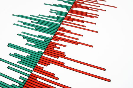 profit loss: Close up of red and green bars on a stock market profit and loss chart.
