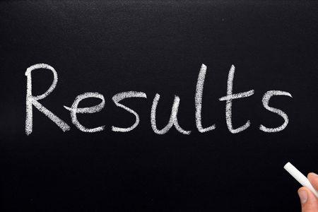 Results, written on a blackboard. Stock Photo - 1015108