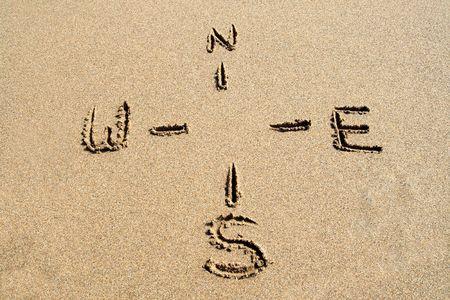 sandy: A compass guide drawn on a sandy beach. Stock Photo