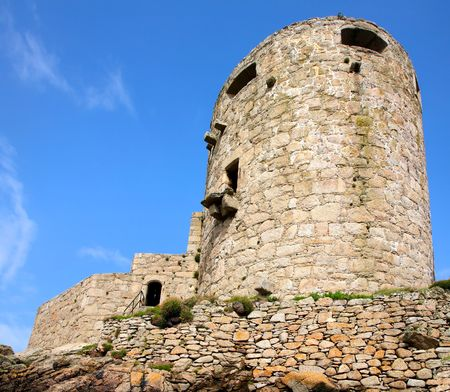 scilly: Cromwells Castle artillery tower, Isles of Scilly, Cornwall. Stock Photo