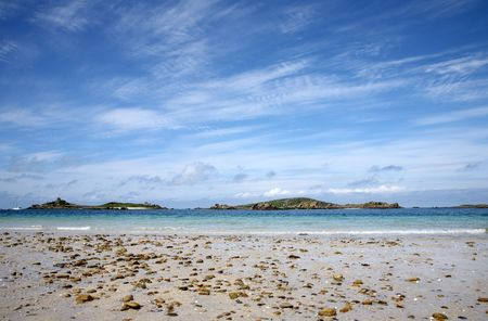 scilly:  Looking towards St Helens and Northwethel from Tresco, Isles of Scilly. Stock Photo