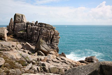 scilly: Tooth rock, Penninis, Isles of Scilly, Cornwall. Stock Photo