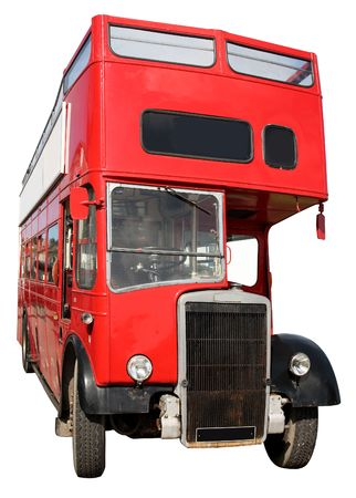 An old red London double-decker sightseeing open top bus, isolated on a white background. Stock Photo - 1236407