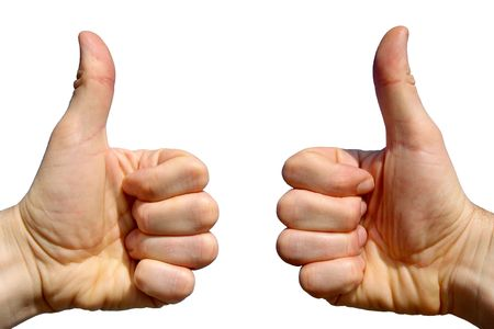 Two thumbs up on a white background.