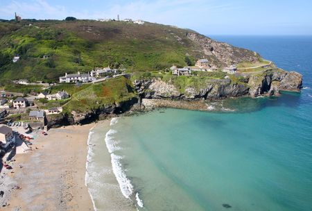 cornwall: An aerial view of Trevaunance Cove, St. Agnes, Cornwall.