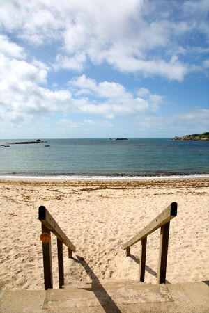 Going to Porthcressa beach, St. Mary�s, Isles of Scilly. Stock Photo - 1304157