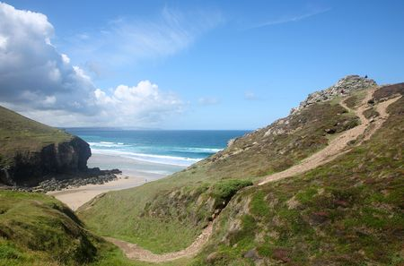 Above Chapel Porth on the Cornish coast path. Stock Photo - 1328776