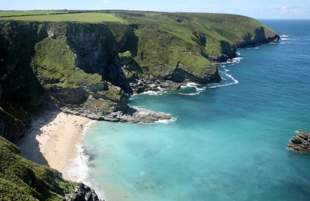 The secluded beach at Fishing Cove and Navax Point, Cornwall, UK. Stock Photo - 1341274