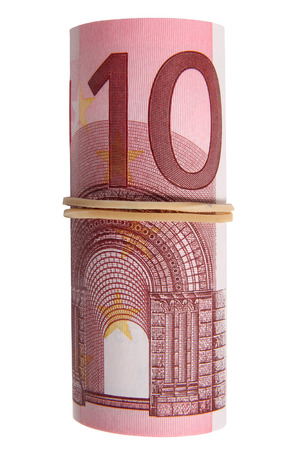 elastic band: A roll of 10 Euro notes with an elastic band wrapped around. Stock Photo