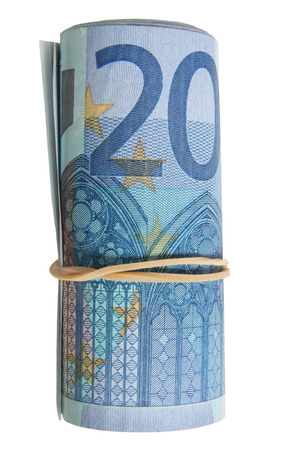 elastic band: A roll of 20 Euro notes with an elastic band wrapped around.