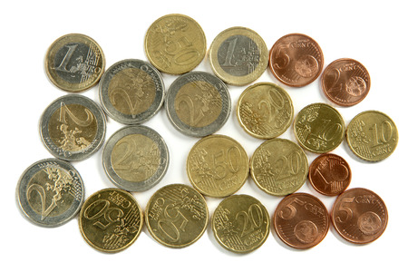 five cents: A bunch of used Euro coins, isolated on a white background.