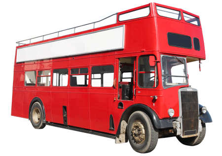 Old fashioned London red double-decker sightseeing open top bus, isolated on a white background.