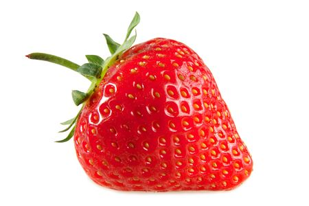 fresa: Un rojo fresa, aisladas sobre un fondo blanco.