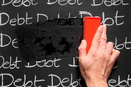 debts: Wiping debts away.