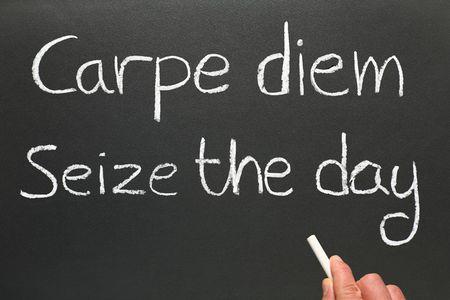 phrase: Carpe diem, Latin for seize the day, a famous phrase. Stock Photo