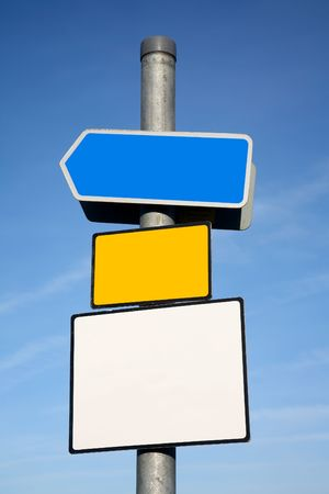 Signpost with 3 blank signs. Stock Photo - 2237042