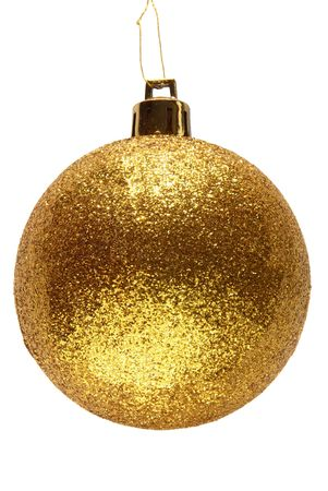gold string: Gold glitter Christmas bauble ball. Stock Photo
