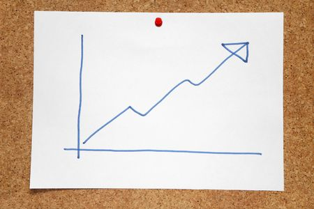 A hand drawn positive profits chart on a cork notice board. Stock Photo - 2242025
