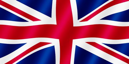 isles: British Union Jack flag blowing in the wind illustration. Stock Photo