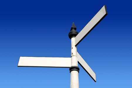 Old fashioned 3 way blank direction signpost. Stock Photo - 2586336